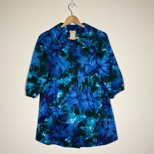 Elevenses Coat Size 2 Blue Floral Retro Trench